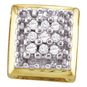 QueensDiamond Yellow-tone Sterling Silver Womens Round Diamond Square Earrings 1/10 Cttw - Queens Diamond & Jewelry