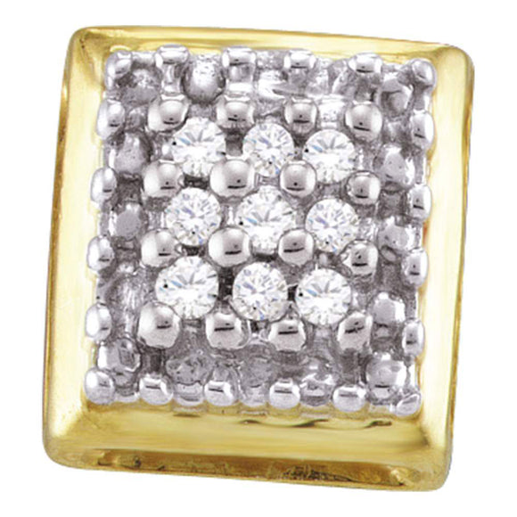 Yellow-tone Sterling Silver Womens Round Diamond Square Earrings 1/10 Cttw