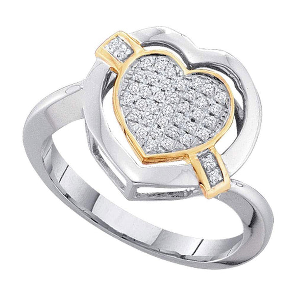 10kt White Gold Womens Round Diamond Heart Ring 1/6 Cttw