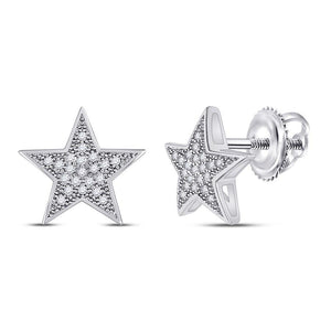 QueensDiamond 10kt White Gold Womens Round Diamond Star Earrings 1/10 Cttw - Queens Diamond & Jewelry