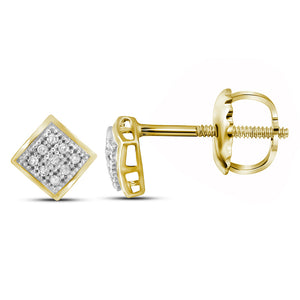 QueensDiamond 10kt Yellow Gold Womens Round Diamond Square Earrings 1/20 Cttw - Queens Diamond & Jewelry