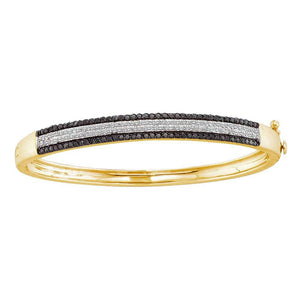 14kt Yellow Gold Womens Round Black Color Enhanced Diamond Bangle Bracelet 1-3/8 Cttw