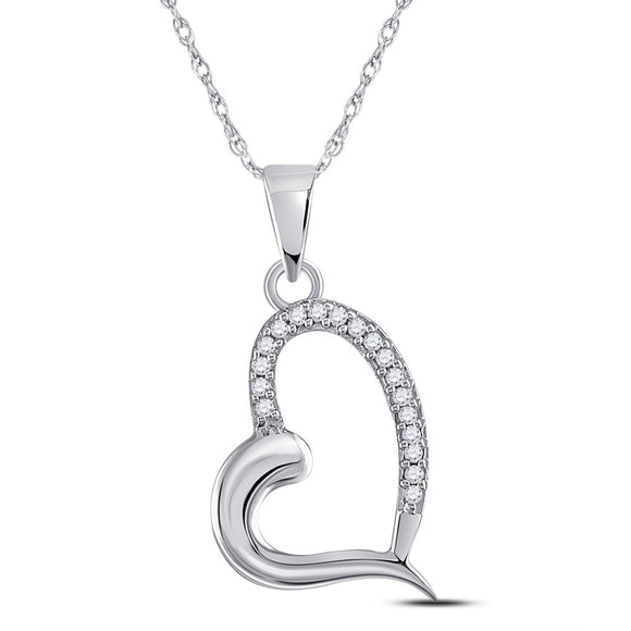 14kt White Gold Womens Round Diamond Heart Pendant 1/20 Cttw