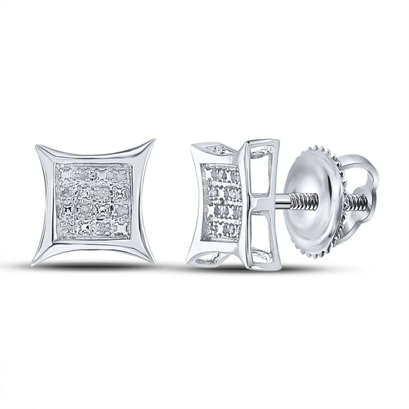 Sterling Silver Womens Round Diamond Kite Square Earrings 1/20 Cttw