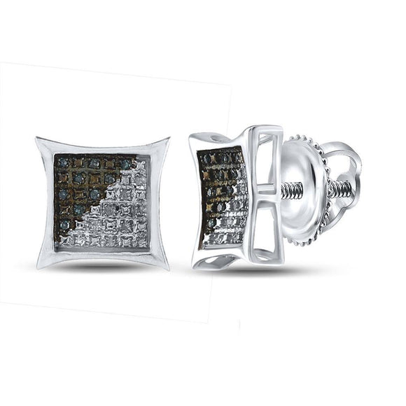 Sterling Silver Mens Round Blue Color Enhanced Diamond Kite Square Earrings 1/8 Cttw