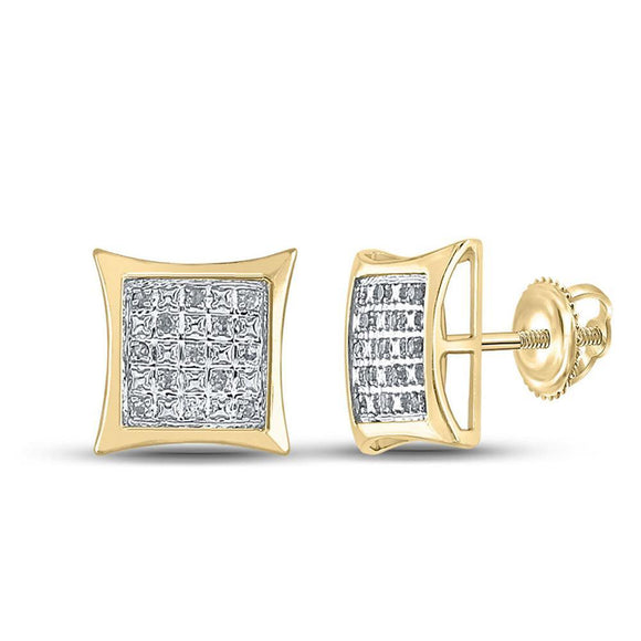 Yellow-tone Sterling Silver Mens Round Diamond Kite Square Earrings 1/10 Cttw