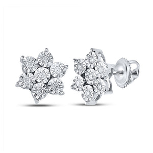 QueensDiamond Sterling Silver Womens Round Diamond Cluster Earrings 1/8 Cttw - Queens Diamond & Jewelry