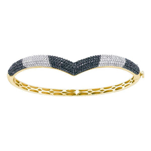 14kt Yellow Gold Womens Round Black Color Enhanced Diamond Bangle Bracelet 1-3/4 Cttw