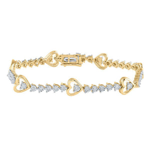 Yellow-tone Sterling Silver Womens Round Diamond Heart Tennis Bracelet 1/2 Cttw