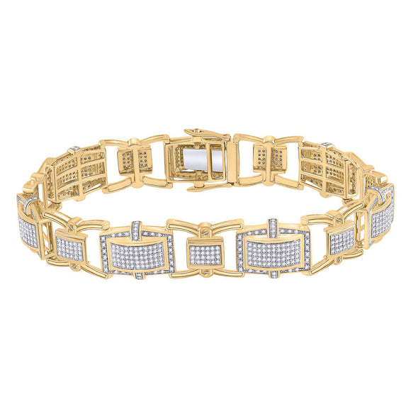 10kt Yellow Gold Mens Round Diamond Rectangle Link Bracelet 2-1/2 Cttw