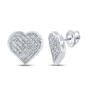 Sterling Silver Womens Round Diamond Heart Earrings 1/10 Cttw