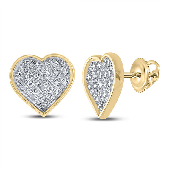 Yellow-tone Sterling Silver Womens Round Diamond Heart Earrings 1/10 Cttw