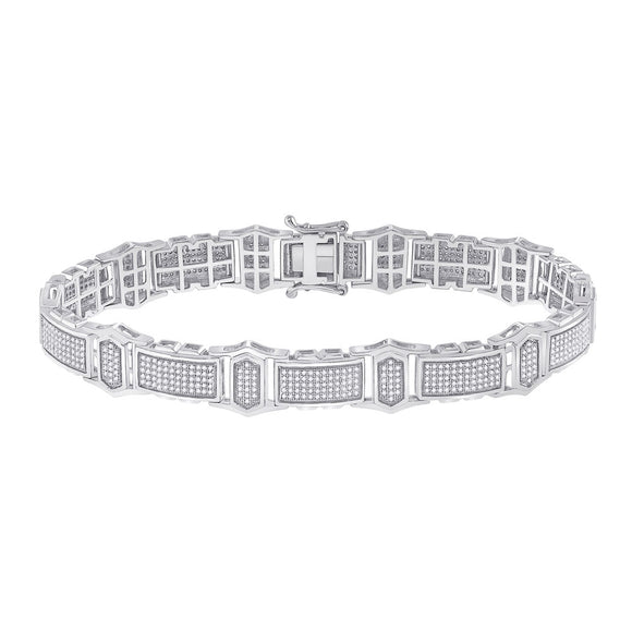 10kt White Gold Mens Round Diamond Link Bracelet 2 Cttw