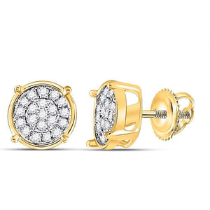 QueensDiamond 10kt Yellow Gold Womens Round Diamond Circle Cluster Earrings 1/10 Cttw - Queens Diamond & Jewelry
