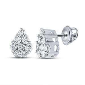 QueensDiamond 10kt White Gold Womens Round Diamond Teardrop Cluster Earrings 1/2 Cttw - Queens Diamond & Jewelry