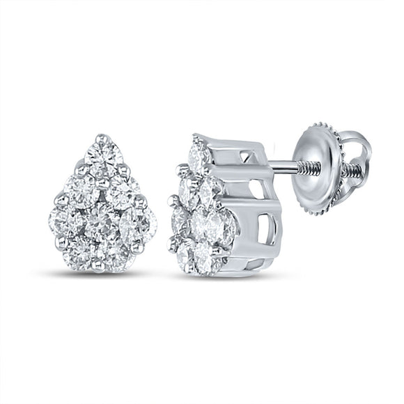 10kt White Gold Womens Round Diamond Teardrop Cluster Earrings 1/2 Cttw