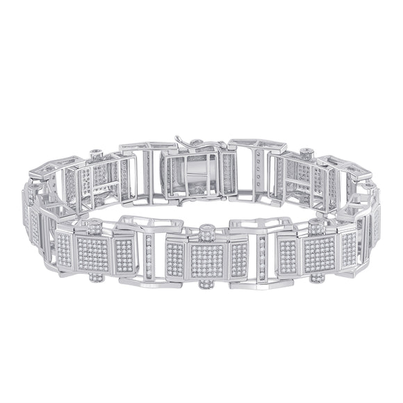 10kt White Gold Mens Round Diamond Fashion Bracelet 2-3/4 Cttw