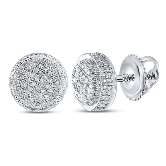 Sterling Silver Mens Round Diamond Disk Circle Earrings 1/10 Cttw