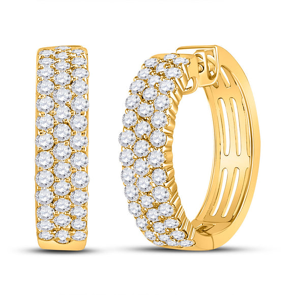 10kt Yellow Gold Womens Round Diamond Hoop Earrings 1-1/2 Cttw