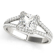 Load image into Gallery viewer, 14kt White Gold 1.40ctw Princess Diamond Halo Engagement Ring Only