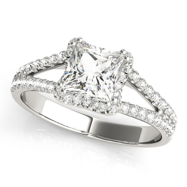 14kt White Gold 1.40ctw Princess Diamond Halo Engagement Ring Only
