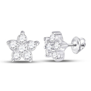 QueensDiamond 10kt White Gold Womens Round Diamond Star Cluster Earrings 3/8 Cttw - Queens Diamond & Jewelry