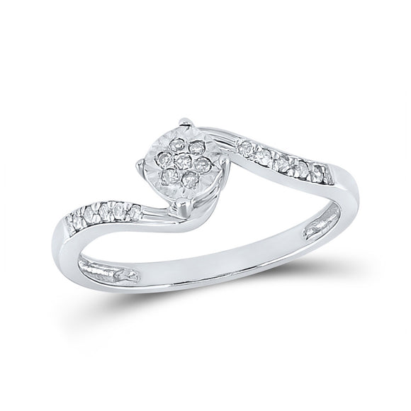 Sterling Silver Womens Round Diamond Fashion Ring 1/12 Cttw