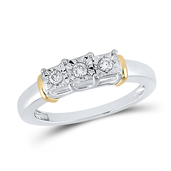 Sterling Silver Womens Round Diamond 3-stone Ring 1/8 Cttw