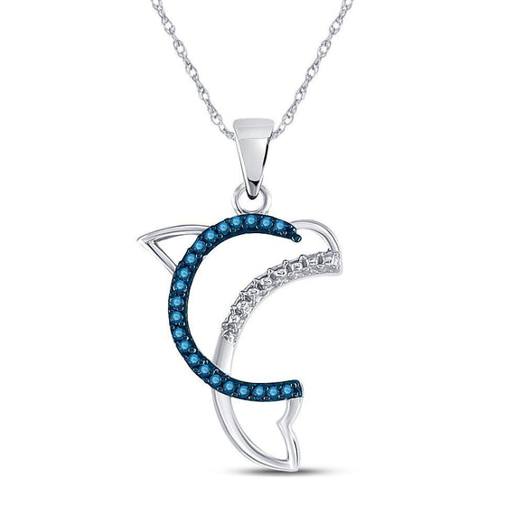 10kt White Gold Womens Round Blue Color Enhanced Diamond Dolphin Animal Pendant 1/10 Cttw