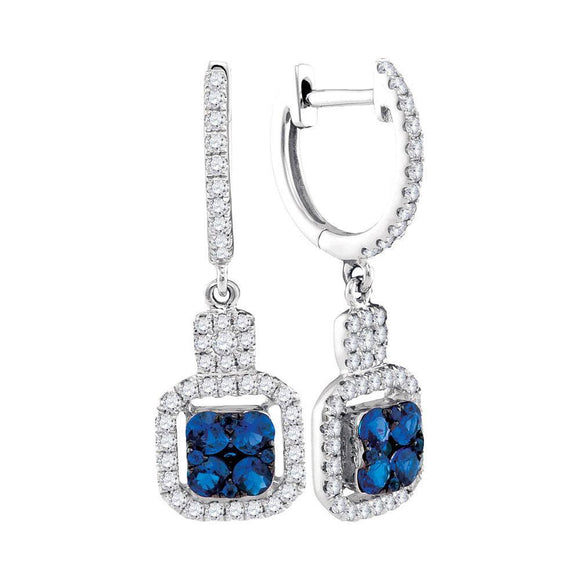 14kt White Gold Womens Round Blue Sapphire Square Dangle Earrings 1 Cttw