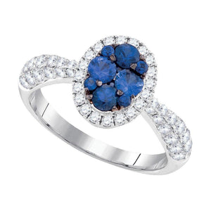 14kt White Gold Womens Round Blue Sapphire Oval Cluster Ring 1-5/8 Cttw