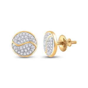 QueensDiamond 10kt Yellow Gold Womens Round Diamond Circle Earrings 1/4 Cttw - Queens Diamond & Jewelry