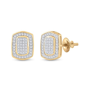 QueensDiamond 10kt Yellow Gold Womens Round Diamond Cluster Earrings 1/4 Cttw - Queens Diamond & Jewelry