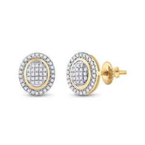 QueensDiamond 10kt Yellow Gold Womens Round Diamond Oval Earrings 1/4 Cttw - Queens Diamond & Jewelry