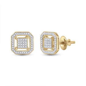 QueensDiamond 10kt Yellow Gold Womens Round Diamond Square Earrings 1/4 Cttw - Queens Diamond & Jewelry
