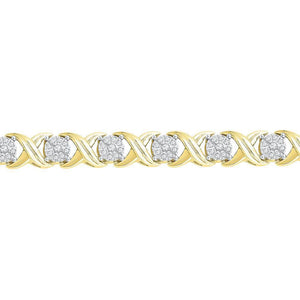 10kt Yellow Gold Womens Round Diamond X Link Fashion Bracelet 1 Cttw