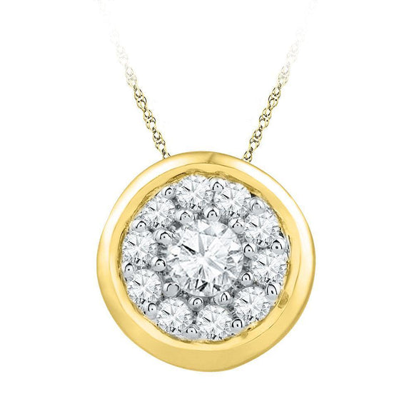10kt Yellow Gold Womens Round Diamond Cluster Pendant 1/4 Cttw