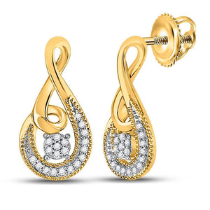 QueensDiamond 10kt Yellow Gold Womens Round Diamond Teardrop Earrings 1/10 Cttw - Queens Diamond & Jewelry