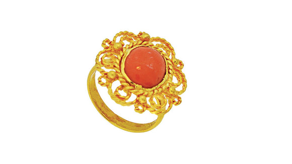 24K Gold Handmade Coral Ring