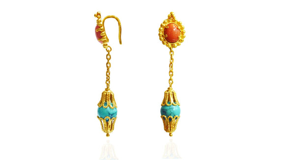 24K/22K Handmade Coral and Turquoise Earring