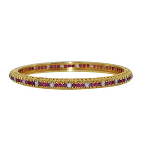Set of TWO Bangle -13.35ctw Diamond and Ruby Bangle in 14kt Yellow Gold for Women - QueensDiamondandJewelry