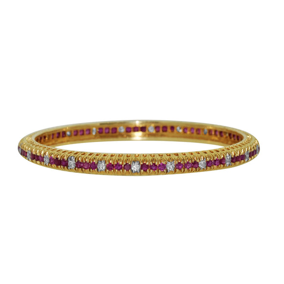 Set of TWO Bangle -13.35ctw Diamond and Ruby Bangle in 14kt Yellow Gold for Women
