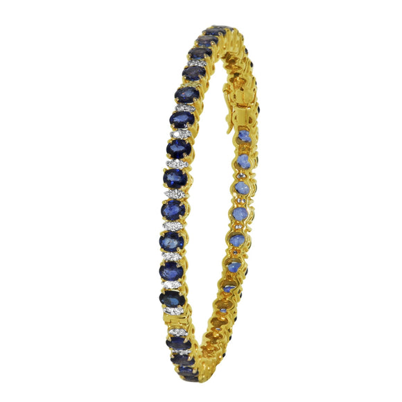 Set of TWO Bangle -29ctw Diamond and Blue Sapphire in 14kt Yellow Gold for Women-