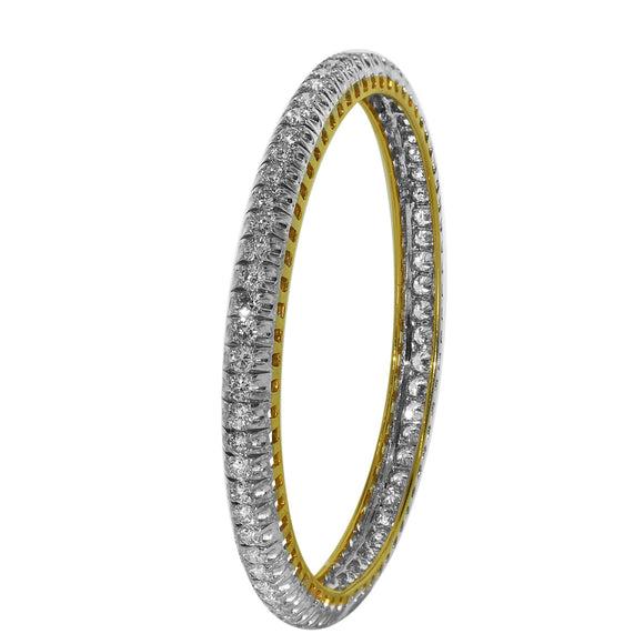 6.90ctw Round Diamond Bangle in 14kt Yellow Gold for Women- Single Bangle Only - QueensDiamondandJewelry