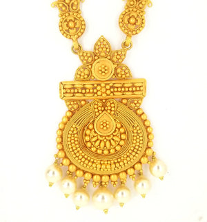 22KT Yellow Gold Antique Rani Haar (Necklace) Set Weigh 82.6 grams Length 29 Inches - Queens Diamond & Jewelry