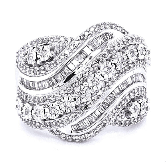0.75 ctw Diamond Band Fashion Ring on Sterling Silver