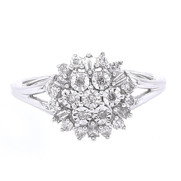 0.50ctw Genuine Diamond Cluster Flower Band in 10kt White Gold