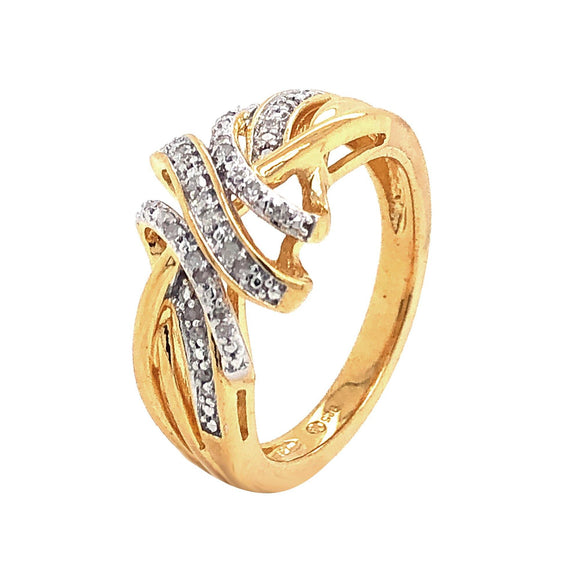Yellow Gold over Sterling Silver 1/10ctw Diamond Fashion Ring Size 7