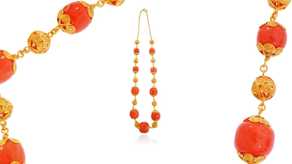 24K Handmade Gold Coral Necklace - QueensDiamondandJewelry