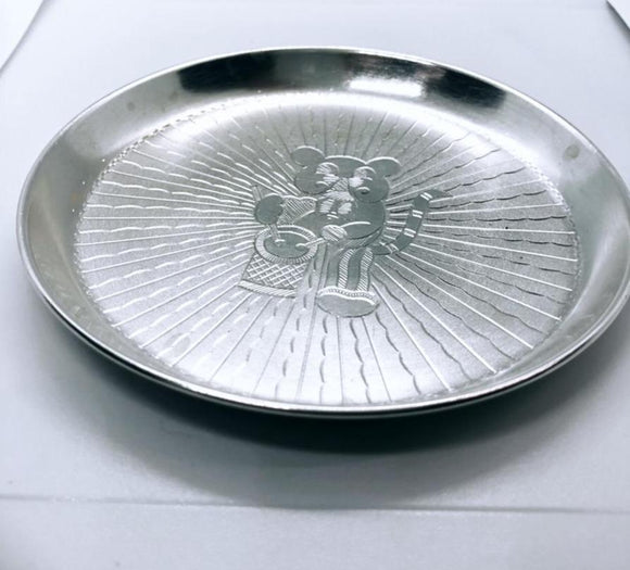 Beautifully carved simple design handmade Small Silver Plate